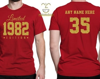 1982 GOLD Limited Edition 35th Birthday Party Shirt, 35 years old shirt, limited edition 35 year old, 35th birthday party tee shirt