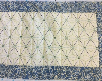 Japanese hand embroidered sashiko tablerunner