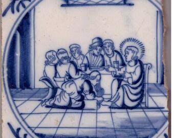 Antique Dutch Tile – 18. Century – Biblical Scene Jesus & Mary Magdalene Feet Washing – Blue and White Netherlands