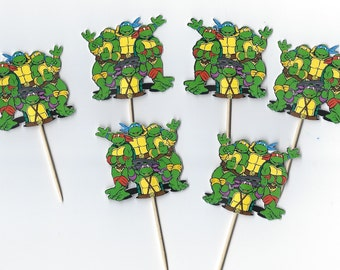 12 Ninja Turtles inspiried Cupcake Toppers, Party Picks, Turtle Cupcake,  Cupcakes, Theme Birthday Decor, Shower, Celebration. TMNT
