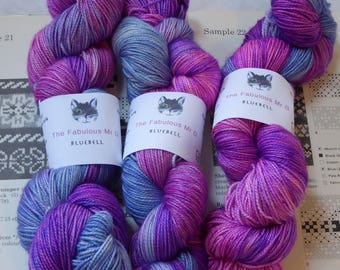 Bluebell, Hand Dyed yarn, Sock Yarn, Blue Faced Leicester/Silk, 4 ply, 100gm