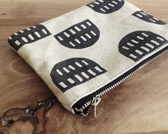Graphic half moon, Canvas Pouch, Natural linen canas, Geometric, Cosmetic pouch, Carry all pouch