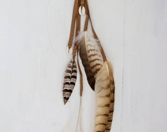 Feather Hair Extension with Shells