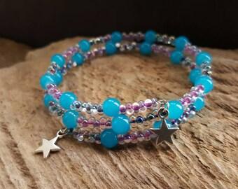 Pink & Bright Blue Beaded Wrap Cuff Bracelet, Silver Star Charm Memory Wire Bracelet, Coil Bracelet,