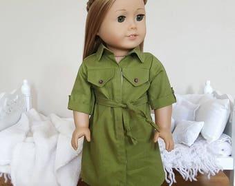 18 inch doll shirt dress | olive green dress