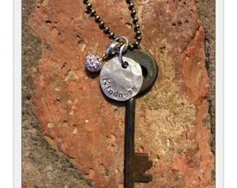 Antique Inspirational Skeleton Key Necklace - KINDNESS