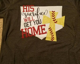 His sacrifice will get you home. SOFTBALL. CROSS. LACES. adult small