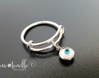 Evil Eye Charm Ring, Expandable Ring, Silver Charm Ring, Adjustable Ring, Twisted Wire Ring, Stackable Ring, Evil Eye Jewelry, Dangle Ring