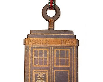 Printed Blue British Police Box Laser Engraved Wooden Christmas Tree Ornament Gift Seasonal Decoration EP - ORNAMENT - TARDIS printed