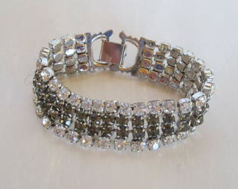 Rhinestone Bracelet - Two Toned - Vintage Jewelry - Beatutiful