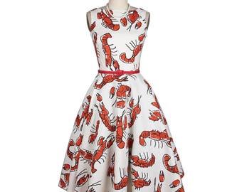 Lobster print dress, White dress, Red dress, Vintage dress, Full skirted dress, Fit and flare dress, Sleeveless dress, Boat neck dress MS138
