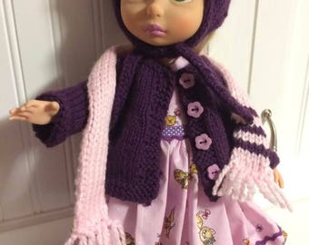 """3 pieces, vest, hat and scarf for 16"""" doll"""