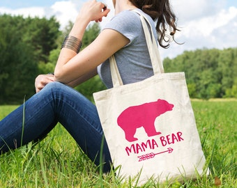 Mama Bear Canvas Tote Bag - Pink New Mom Gift