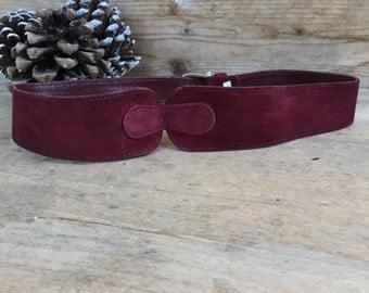 vintage  leather  belt , accessories vintage, bordeaux belt, 70 ' vintage