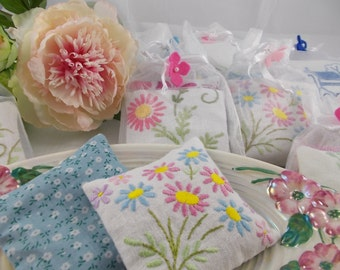 Lavender Sachets - vintage embroidery, vintage embroidered linen, drawer sachets, english lavender, gift for mum, mother's day gift