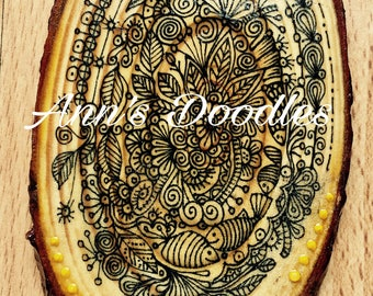 Handprinted and Drawn Wooden slice