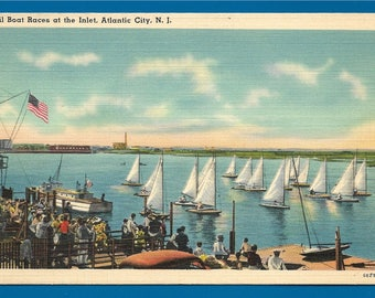 Vintage Linen Postcard - Sail Boats Racing at the Inlet in Atlantic City, New Jersey  (2555)