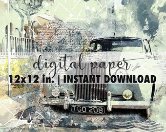 12x12 digital paper, premade scrapbook pages, 12x12 art print, scrapbook vintage paper, scrapbook background download, old car, vintage car