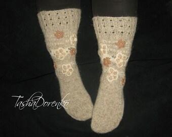 Knitted women's socks, Woolen socks, Comfortable socks, Organic wool