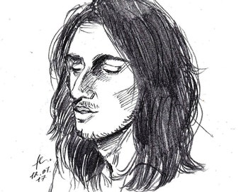 "Original Artwork, ""John Frusciante"" / Pencil Drawing / Red Hot Chili Peppers / Male Drawing / Portrait Drawing / Black and White"