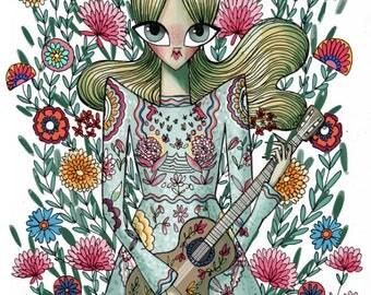 Flower musician fashion illustration