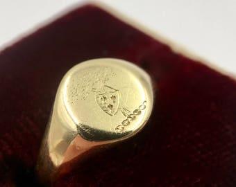 1800s Lawson Ward & Gammage 18K Yellow Gold Signet Ring