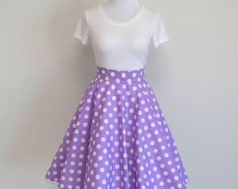 Purple Polka Dots Daisy Duck Inspired Homemade Circle/Swing Skirt (No Sash)
