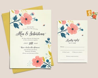 Set of 3 Printable Wedding Invitation – Pink Anemone
