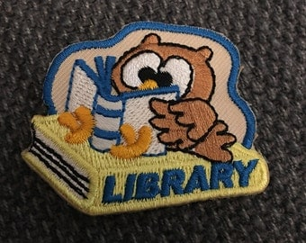 Library Owl Patch (1) - reader reading book lover librarian books Scout fun kjallraven Hershel
