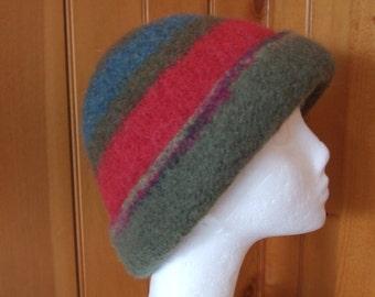 Winter hat Unisex/Wool Hand Knit Felted hat/Handmade Ladies Alpaca Bucket hat/Men's Bucket hat/FREE SHIPPING/Brimmed felted hat/Striped hat