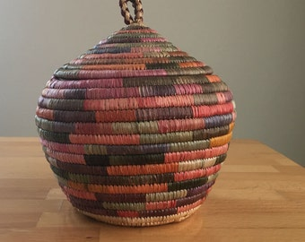 Authentic Vintage Yupik Yup'ik Alaska Native Eskimo Colorful Coiled Grass Basket Unusual