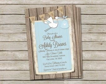 Rustic Baby Boy Stork Shower Invitation in Blue over Shabby Wood and Burlap - printable 5x7