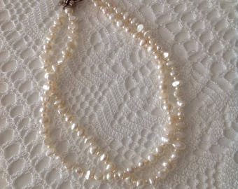 Fresh water necklace,,Fresh Water Pearl Necklace, 2 strands of Pearl Necklace, for her, mothers day, vintage necklace.