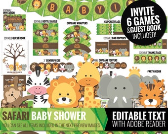 Safari Baby Shower Decorations Package - Printable Jungle Theme Baby Shower Decor - Cute Gender Neutral Shower - Editable Digital Download