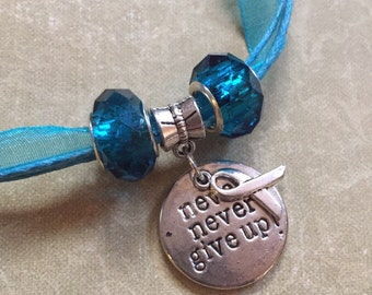 "Turquoise Teal ""Never Give Up"" Awareness Ribbon Dysautonomia POTS Necklace PCOS"