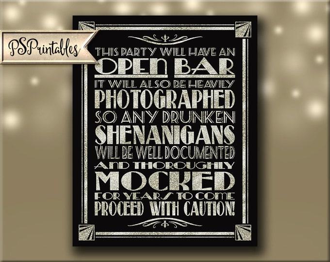 OPEN BAR - sheningans wedding sign - instant download digital file - Silver Deco Collection - art dco party - art deco bar - art deco