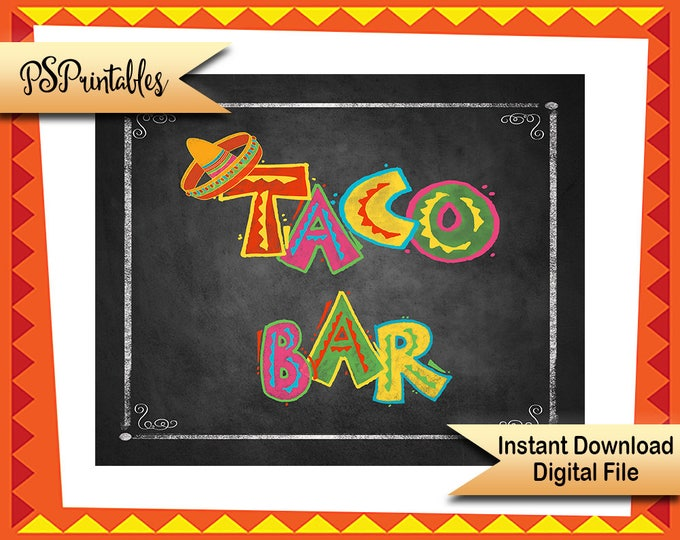 Printable Taco Bar Sign, Fiesta Taco Buffet Sign, Build your own Taco Sign, Fiesta Wedding Sign, Mexican Taco Sign, Fiesta party decorations