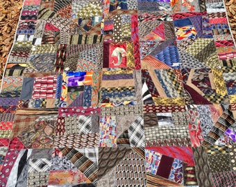 Neck Tie Quilt Custom Made, Amount Stated Represents a Deposit, Neck Tie Crazy Quilt, Memory Quilt Made from Neckties, Quiltsy Handmade