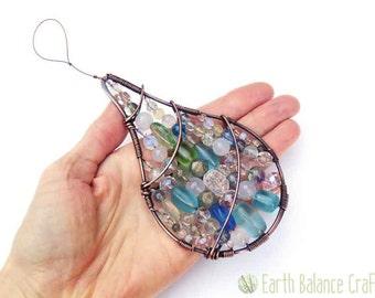 Dewdrop Crystal Chandelier, Sparkly Suncatcher, Window Chandelier, Aqua, Sea Glass, Home Gifts, Rain Drop, Window Hanging Crystal, Weather