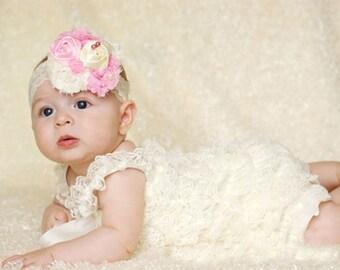 Cream Petti Romper,Two Pcs. Romper,Off White Lace Petti Romper,Cream Flower Girl Romper,Cream Lace Romper,Newborn Cream Romper,Infant Romper