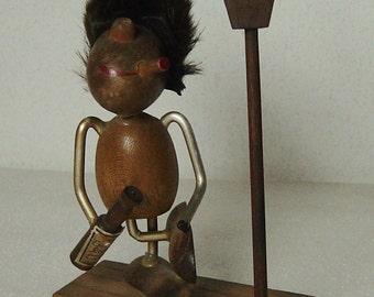 cute Danish Modern Teak wood figurine drinker at lantern Bolling Lonborg Era