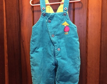 1990S // LITTLE WOODS // Quilted Size 6-12 Months Overalls