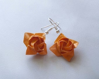 Orange Origami Rose Earrings