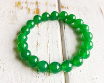 Green Aventurine 8mm Bracelet, Choice of Charm, Abundance Bracelet, Festival Bracelet, Lucky Bracelet Good Luck Abundance Success