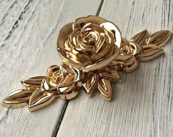 Gold Flower Knob Dresser Knobs Drawer Knob Pulls Pull Handles Rose Flower Kitchen Cabinet Door Knobs Handle French Ornate Shabby Chic