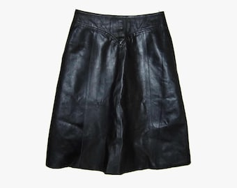 Black leather A-line skirt, Made in Finland
