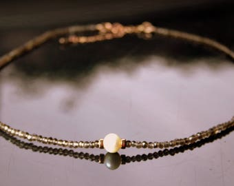 Smoky Quartz and Freshwater Pearl Necklace With Rose-gold Beads