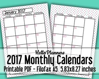 Filofax A5- 2017 Calendar Printables in Pink Purple and Green Polka Dots