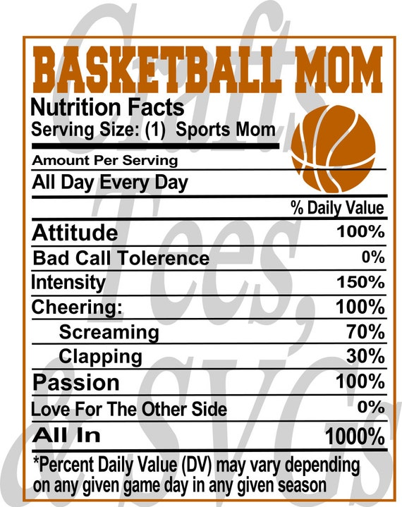 Basketball Mom Nutrition Sheet Svg File From