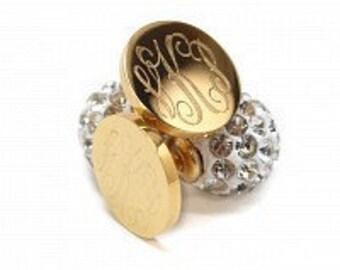 Monogrammed Gold Earrings, Rhinestone Back Earrings
